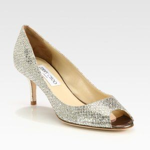 Jimmy Choo Women's Glitter Open Toe Pump